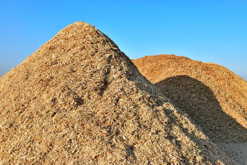 Wood chips on pile stock photos