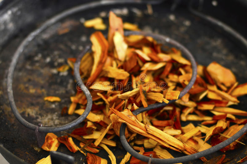 Wood chips for smoking stock photos