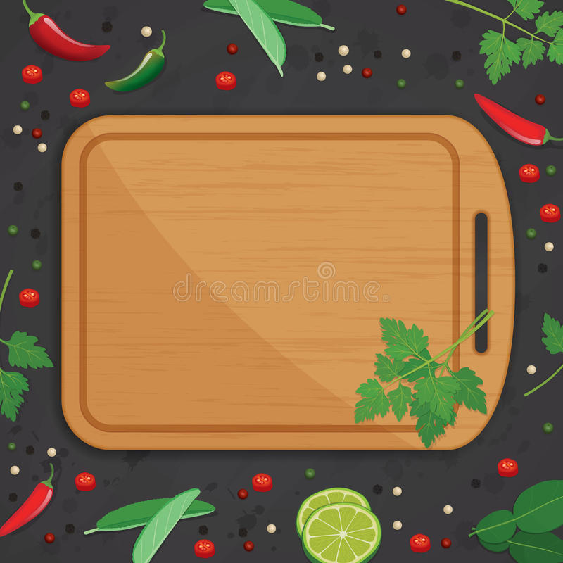 Wood chopping board witn herbs and spices background. Chopping board, wood chopping board, wood, food, food background, background, herbs and spices, herbs stock illustration