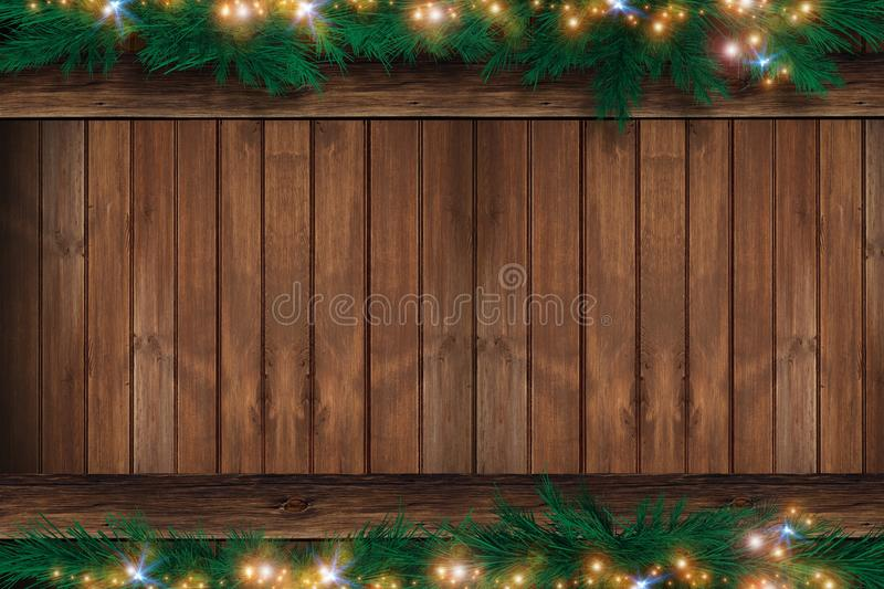 Wood Christmas Backdrop. Wooden Wall with Christmas Ornaments on the Top and Bottom. Holiday Copy Space Design stock illustration