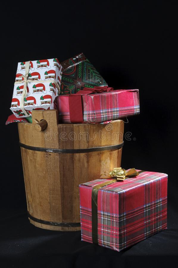 Wood Christmas bucket with gifts