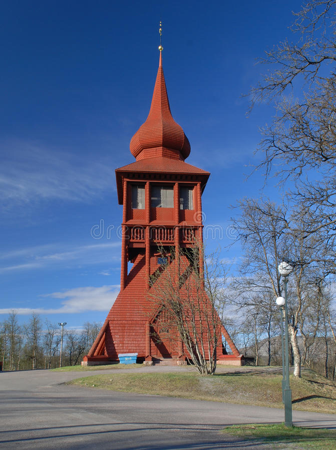 Wood church in Kiruna royalty free stock photo