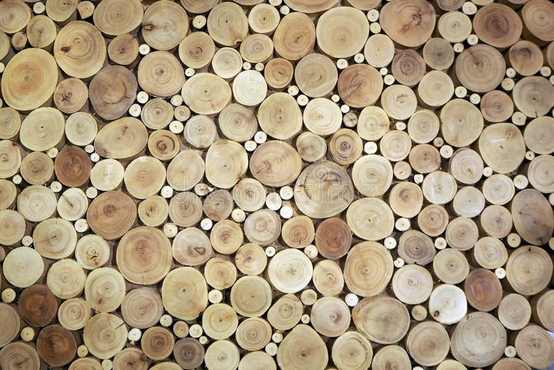 Wood circles pattern of cutted tree trunks. The round pieces are of different sizes. stock image