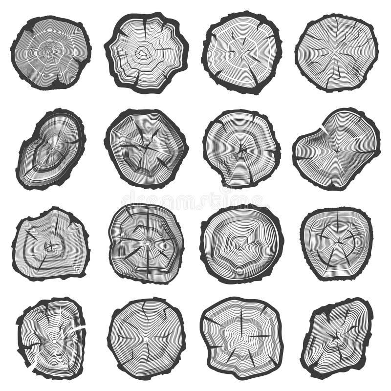 Wood cirklar, sawcutträdstam vektor illustrationer
