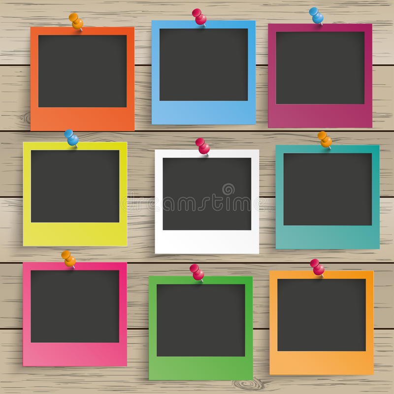 Wood 9 Colored Photo Frames stock photos