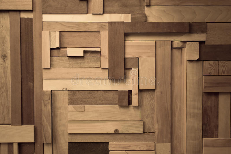 Wood composition. Creating a wall effect, using different sizes of wood pieces stock photography