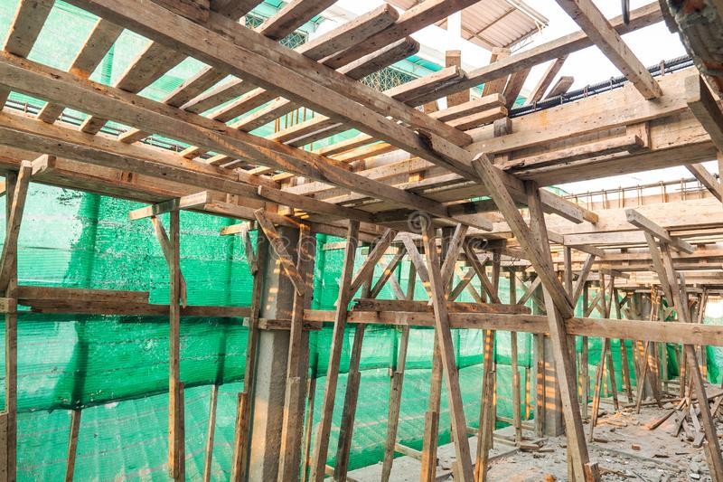 Wood Construction in the New Building Construction royalty free stock image