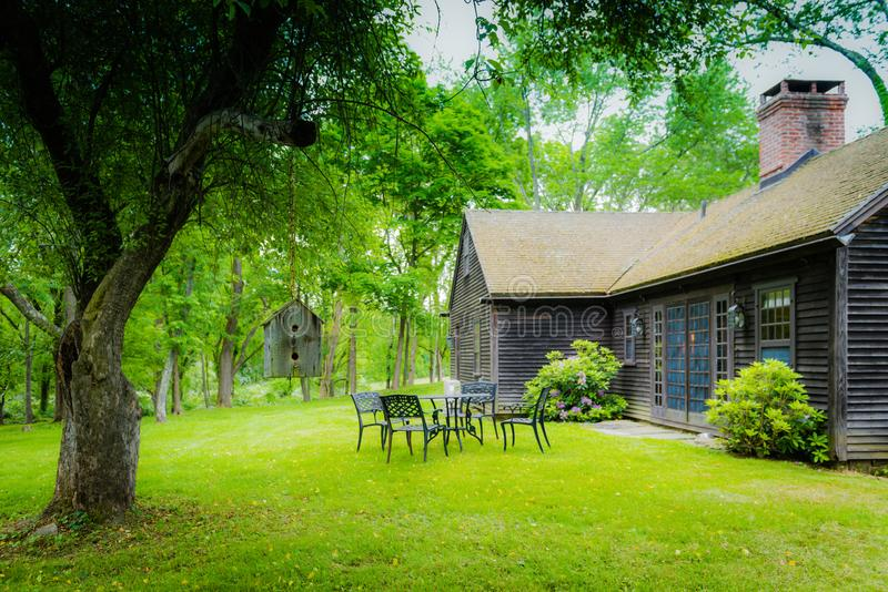 Hudson Valley Country Cottage Back Patio stock images
