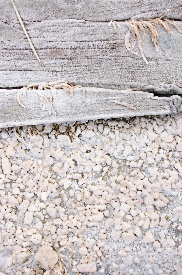 Wood covered with salt stock photography