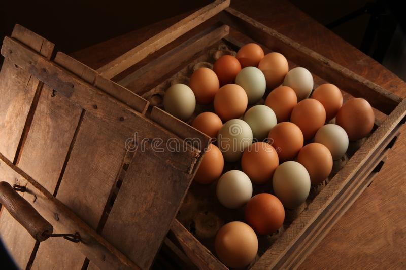 Eggs farm fresh in a wood crate. Farm fresh brown and green eggs on wood table, morning, breakfast, easter egger hen egg, Plymouth rock hen egg, farm eggs, dark stock photo
