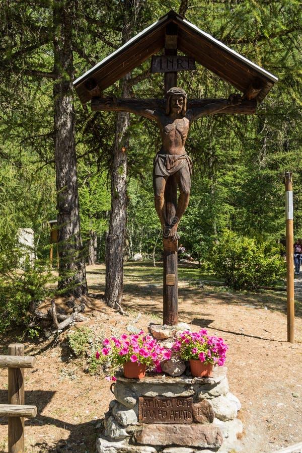 Wood crucifix iin the park stock photo