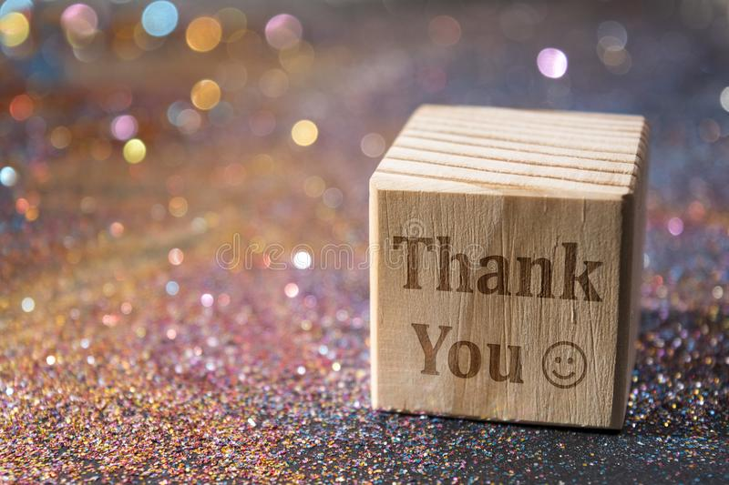 Thank you text on cube royalty free stock photos