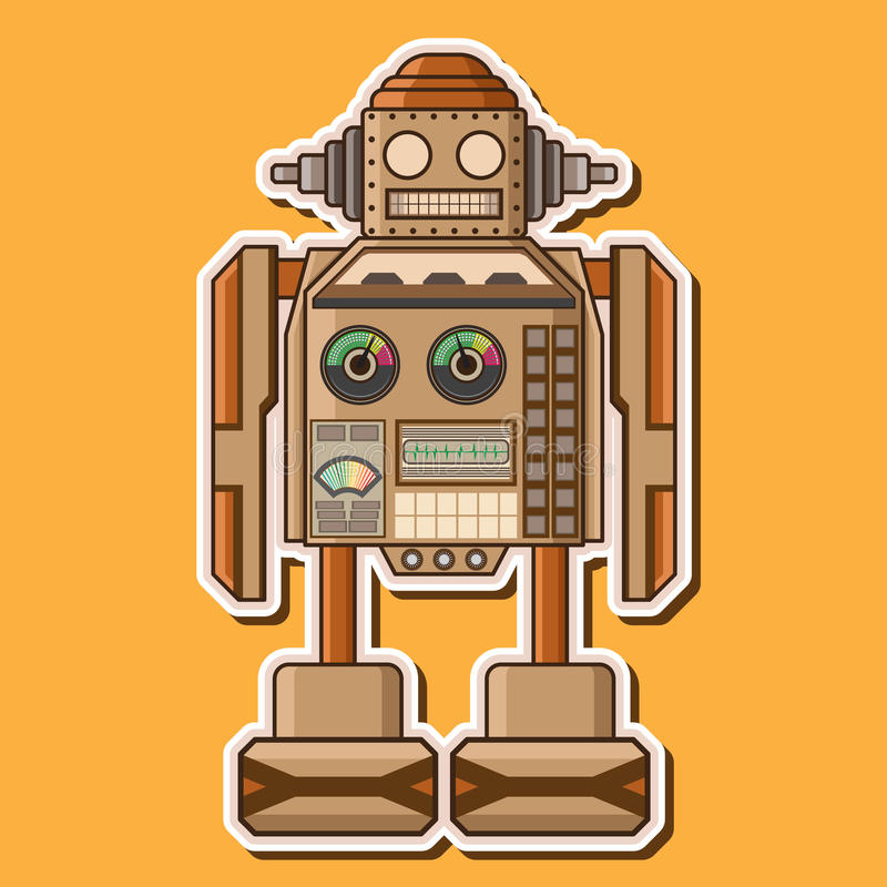 Wood Cute Robot Vector Design royalty free stock photography