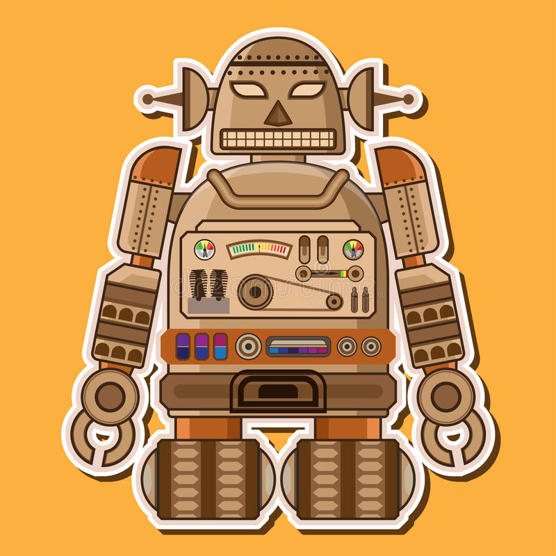 Wood Cute Robot Vector Design stock photos