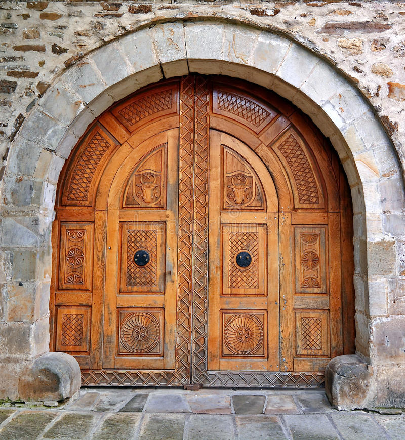 Wood dörr royaltyfria foton