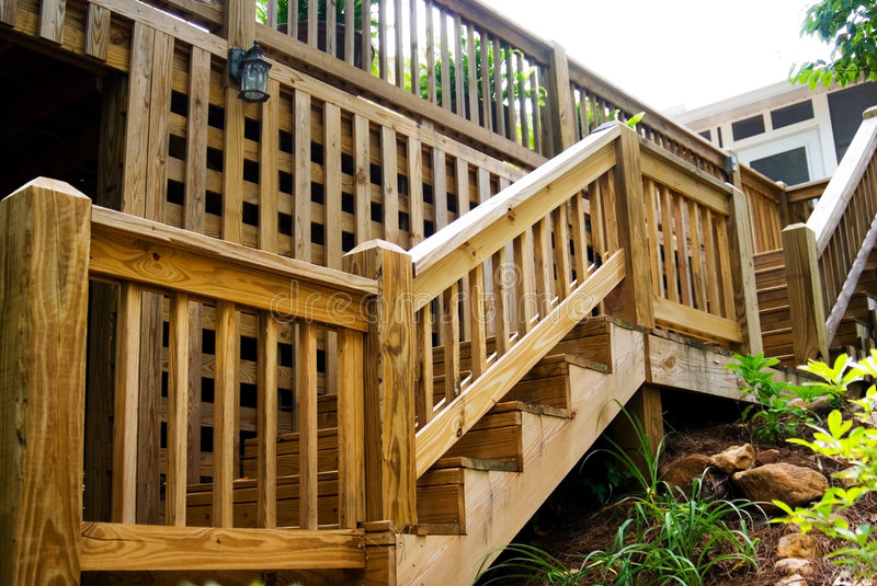 Wood deck steps stock image