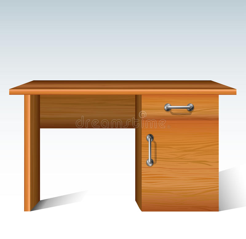Wood desk. With drawer and cabinet from front view vector illustration