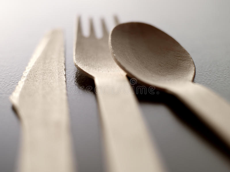 Wood Disposable Cutlery Stock Image