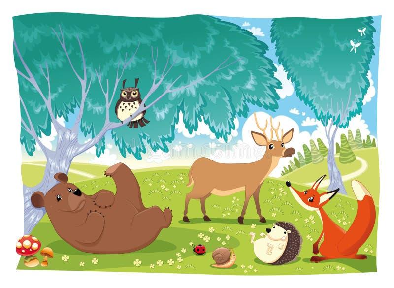 wood djur stock illustrationer