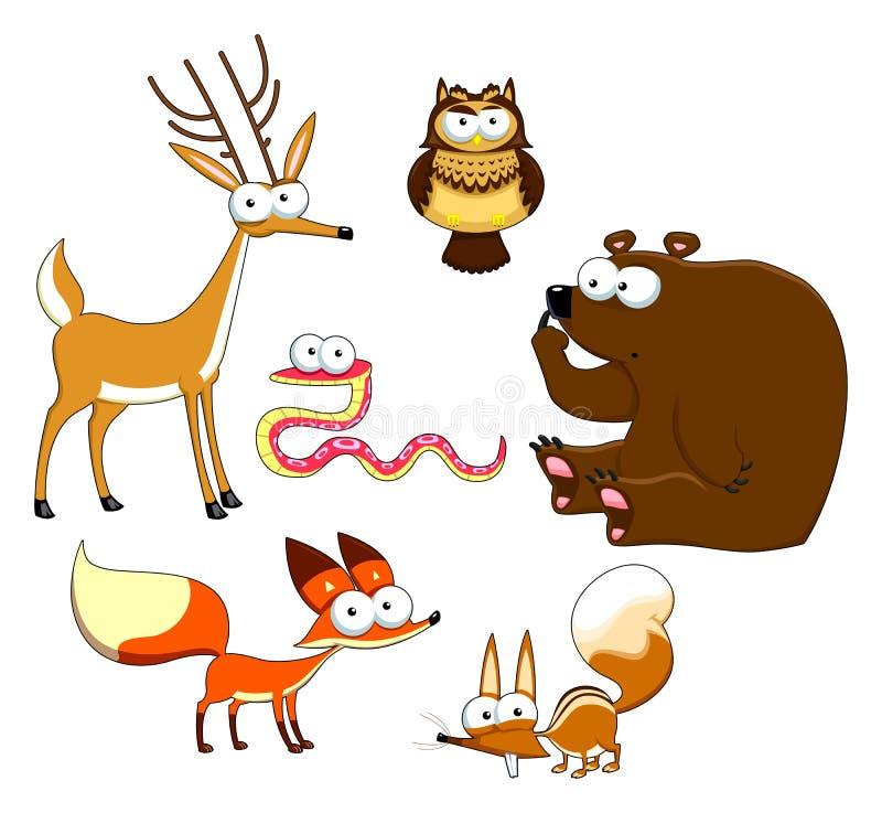 Wood djur. royaltyfri illustrationer