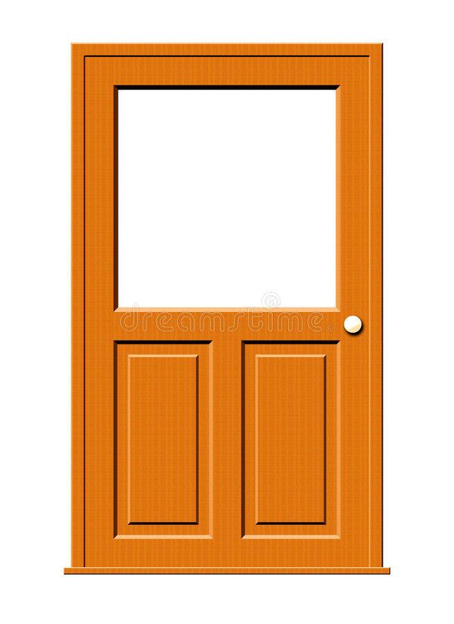 Download Wood Door With Blank Window Stock Illustration - Image: 4562439
