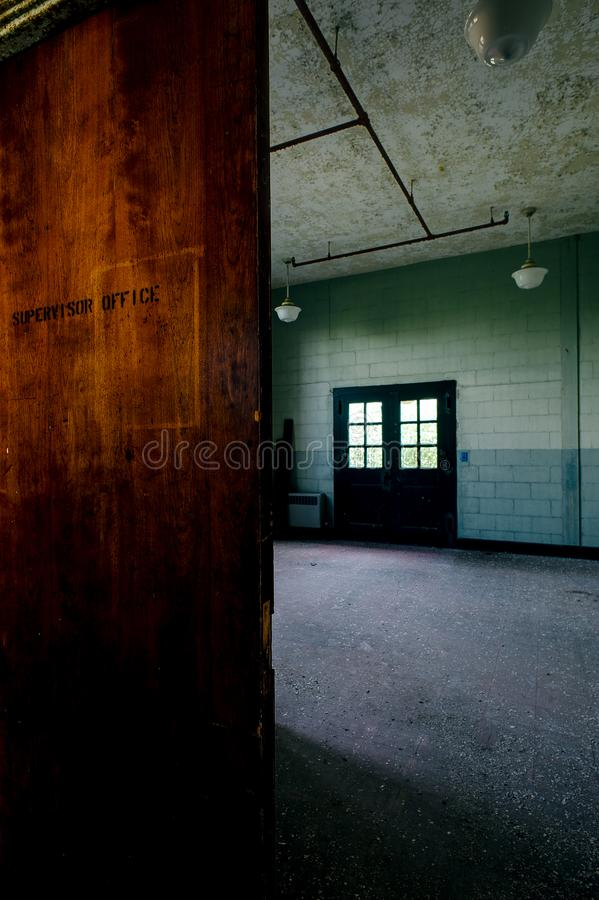 Wood Door - Derelict Laboratory - Abandoned Indiana Army Ammunition Depot - Indiana royalty free stock images