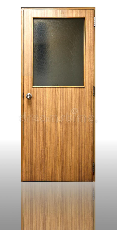 Wood door. In a office and house stock photo