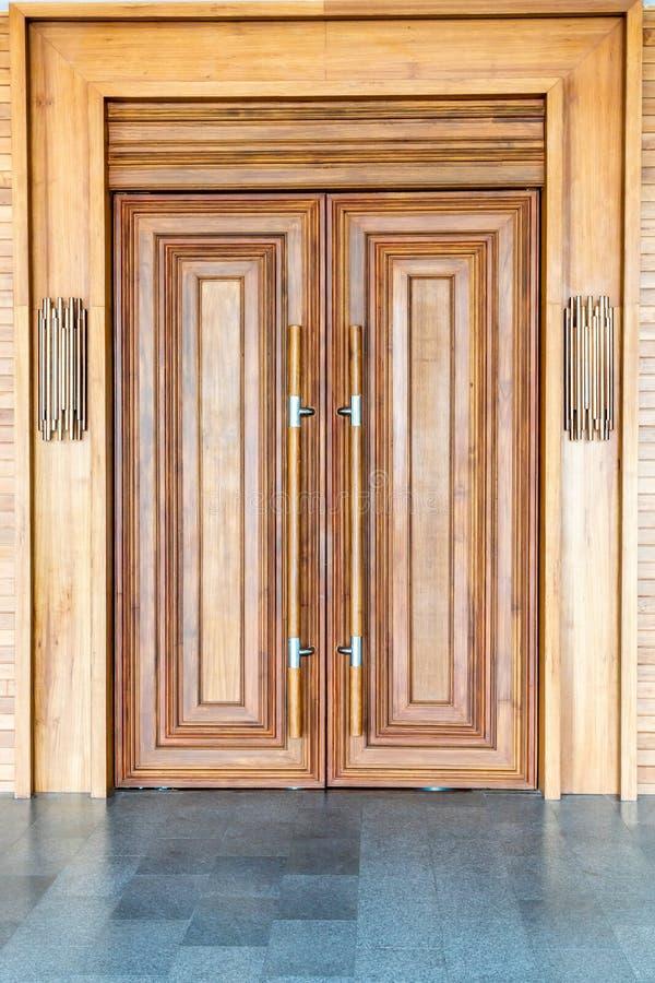 wood door on wall stock photos