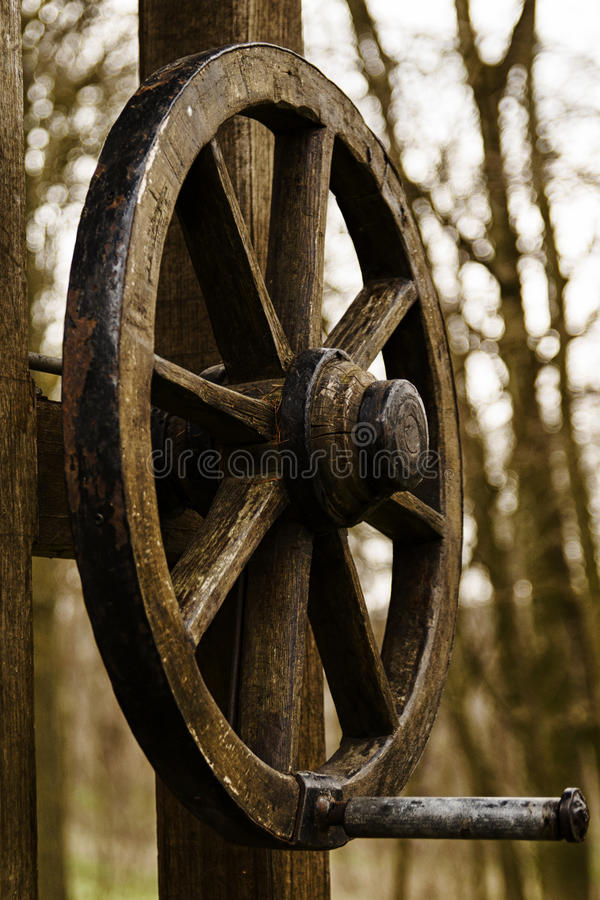 Wood draw-well fountain royalty free stock images