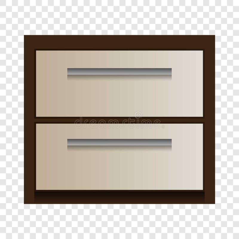 Wood drawer mockup, realistic style. Wood drawer mockup. Realistic illustration of wood drawer vector mockup for on transparent background royalty free illustration