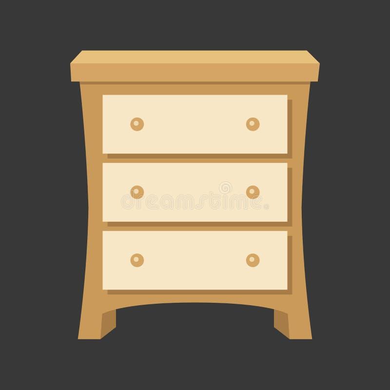 Drawer vector. Wood drawer vector, flat design royalty free illustration