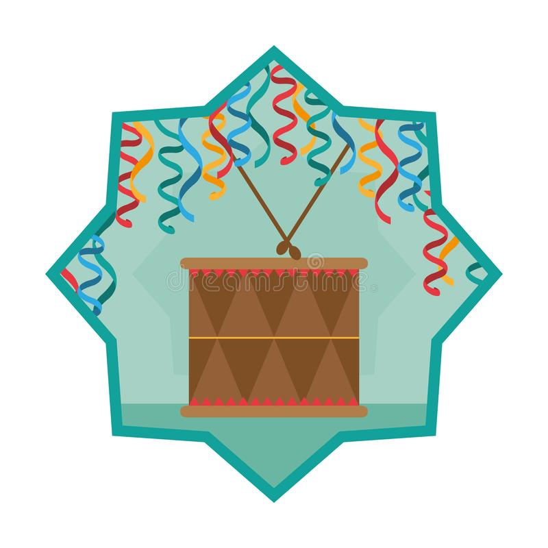 Wood drum musical object inside star royalty free illustration