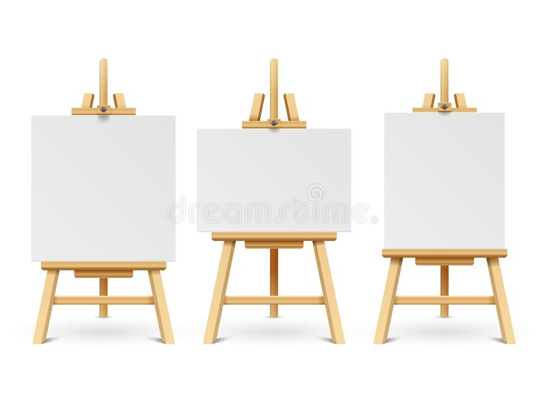 Wood easels or painting art boards with white canvas of different sizes. Artwork blank poster mockups royalty free illustration