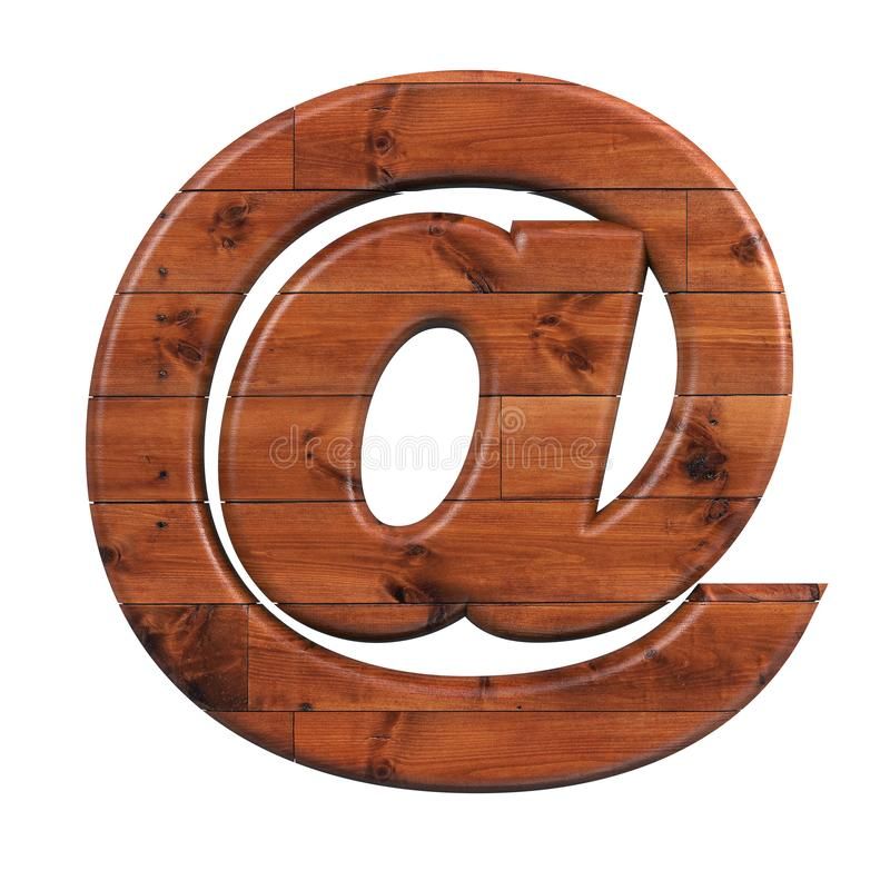 Wood email sign - 3d at sign wooden plank symbol - Suitable for nature, ecology or decoration related subjects royalty free illustration