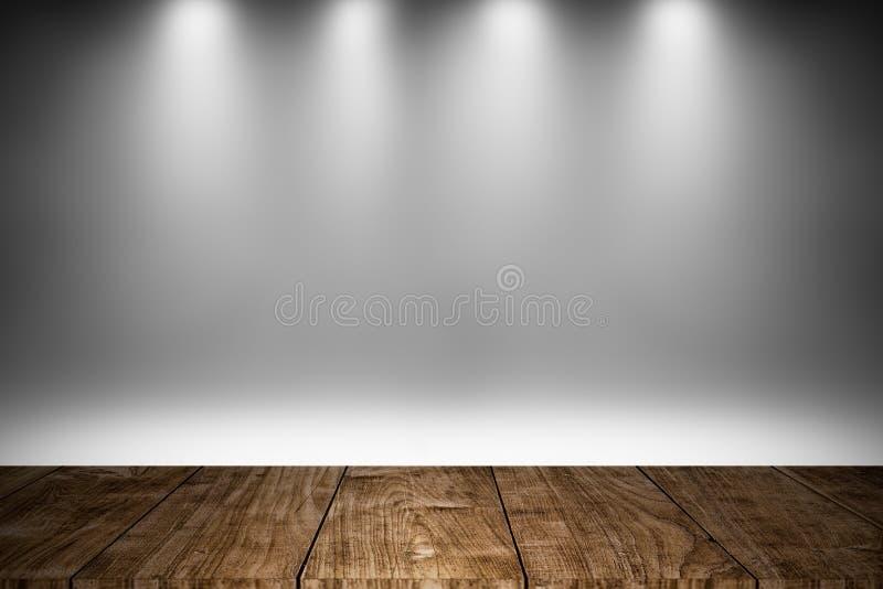 Wood etapp eller trägolv med vit belysning fotografering för bildbyråer