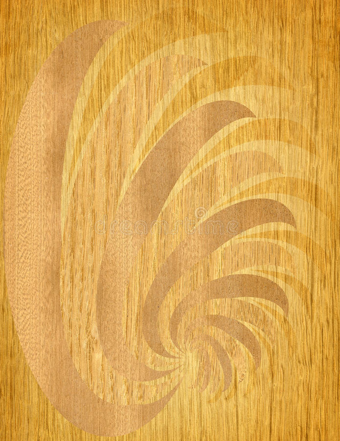Wood etching. Geometrical abstract shapes on natural material stock illustration