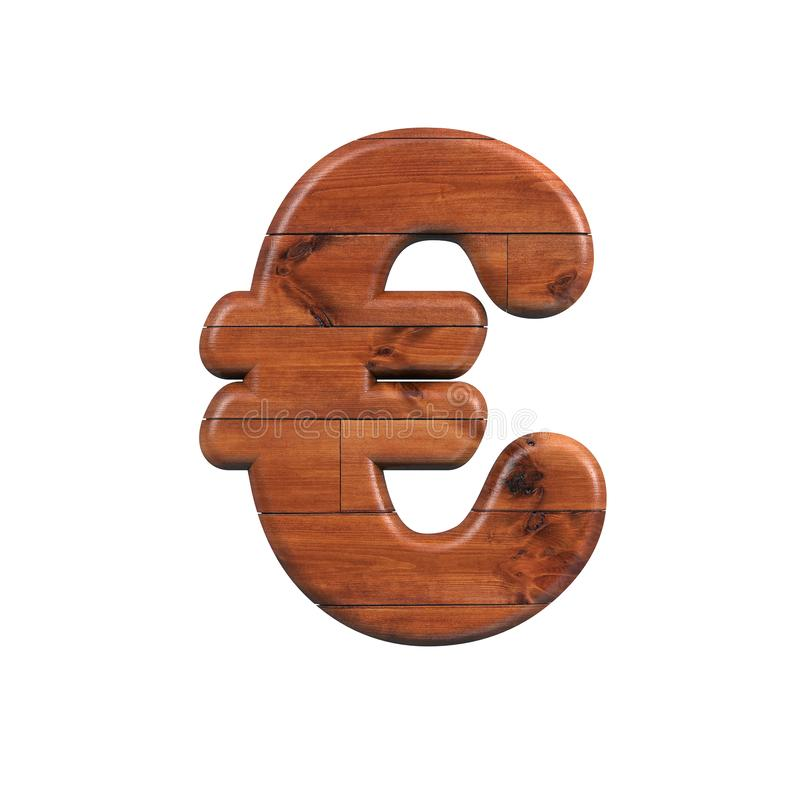 Wood euro currency sign - 3d Business wooden plank symbol - Suitable for nature, ecology or decoration related subjects stock illustration