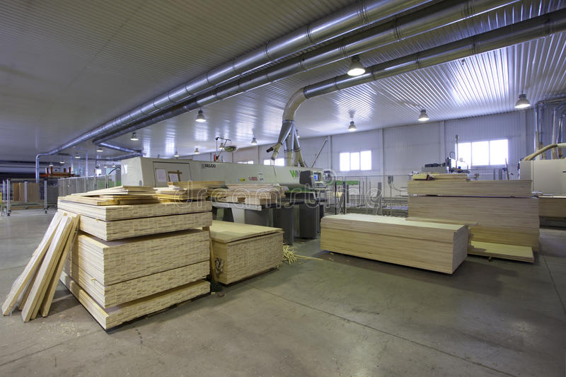 Wood factory. Inside the workshop stock photography