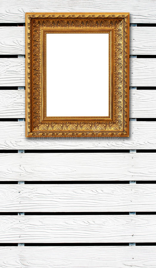 Wood fence background with vintage photo frame