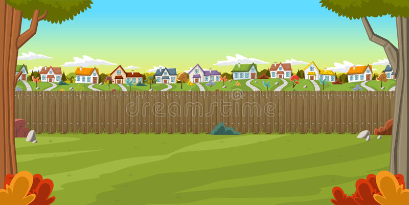 Wood fence on the backyard of a colorful house. In suburb neighborhood. Green garden with grass, trees, flowers and clouds vector illustration