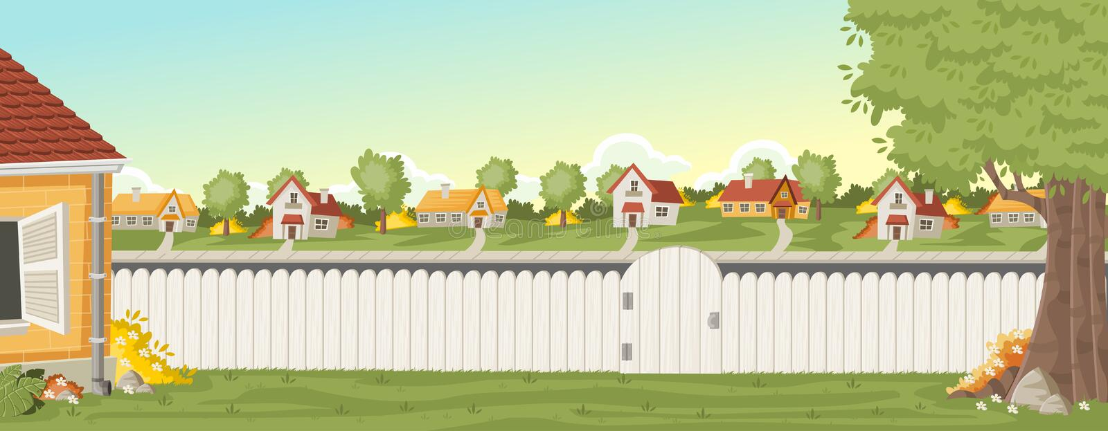 Wood fence on the backyard of a colorful house in suburb neighborhood. Green garden with grass, trees, flowers and clouds stock illustration