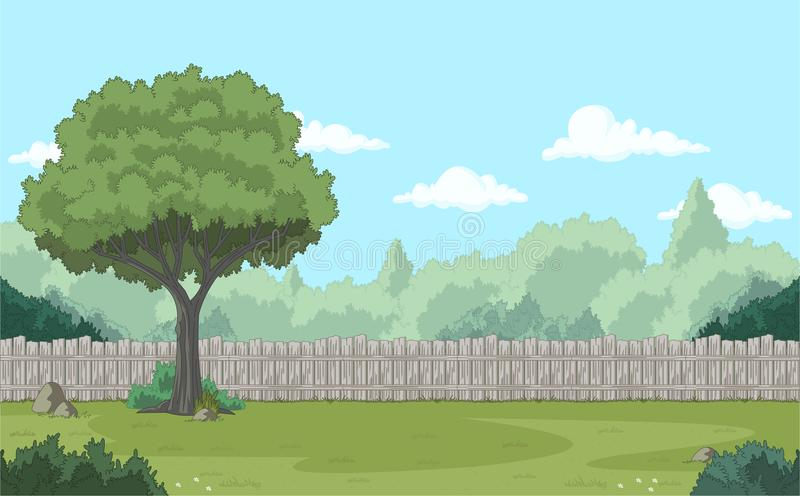 Wood fence on the backyard. Green garden with grass, trees, flowers and clouds stock illustration