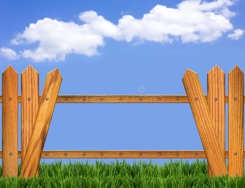 Download Wood Fence And Blue Sky Horizon Stock Illustration - Image: 24563349