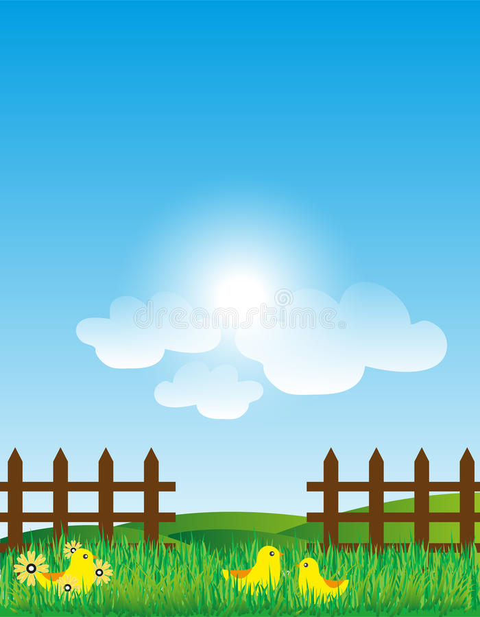 Wood Fence With Grass Landscape stock photography