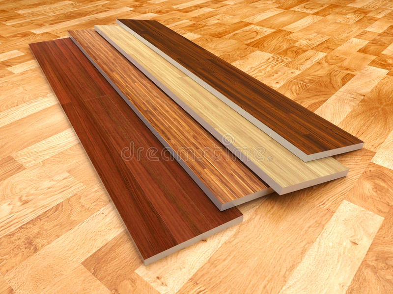 Wood floor. 3D illustration, color - brown
