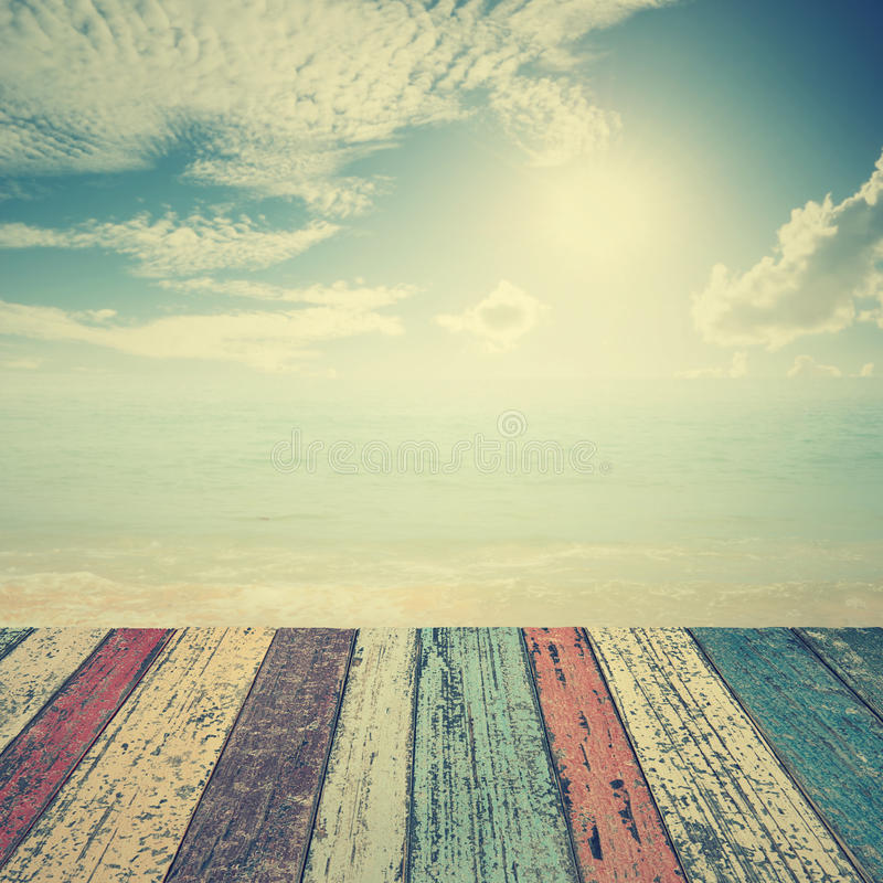 Wood Floor On Beach Sea And Blue Sky For Background Stock