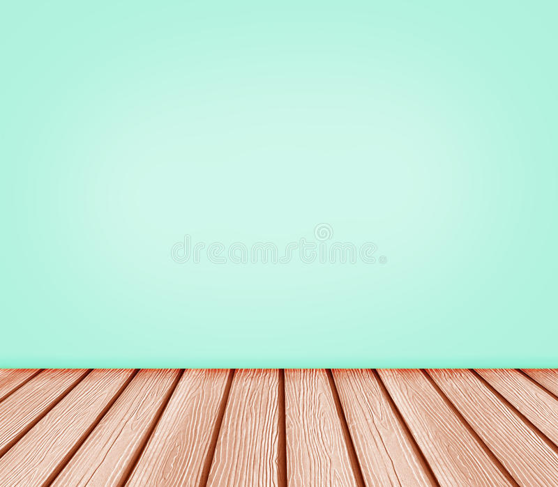 Wood Floor And Blue Green Wall Background Stock Photo