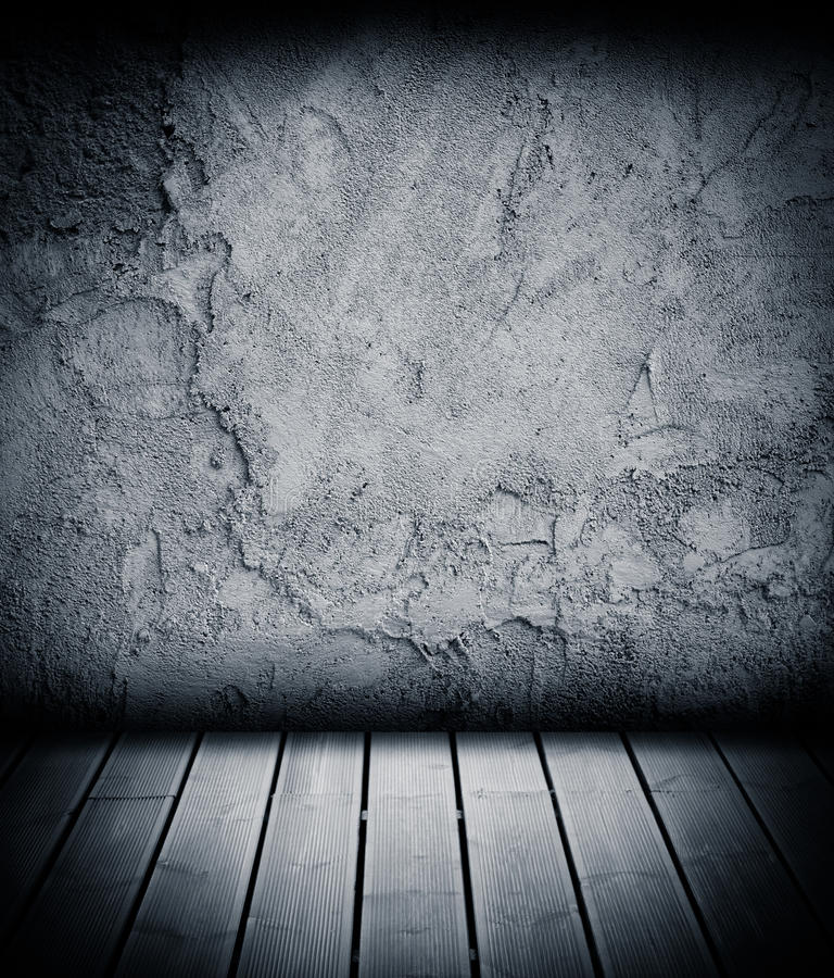 Wood Floor And Concrete Wall Textured Background Stock