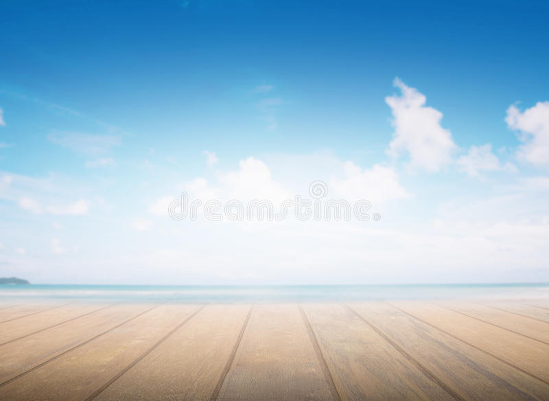 Wood floor pattern, sea background, blurred sea abstract Abstract.Light The middle of the visual concept stock photography