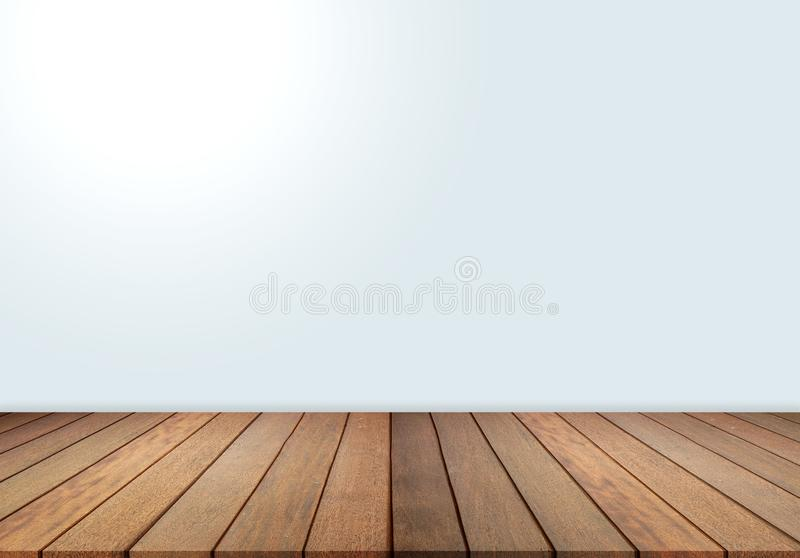 Wood floor and wall, empty room for background. Big empty room in grange style with wooden floor. Wood floor and white wall, empty room for background. Big empty royalty free stock image